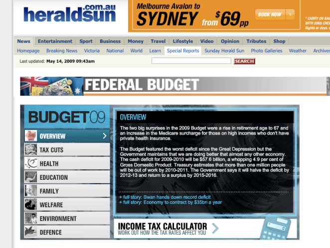 Herald Sun online budget coverage